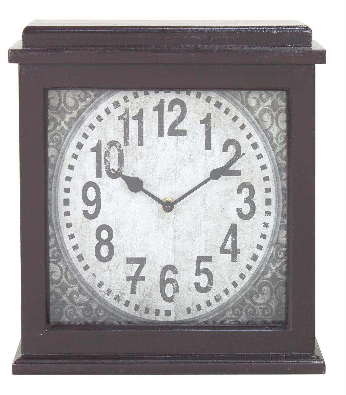 Dark Brown Wood Square Mantle Clock Stylish Swirl Design