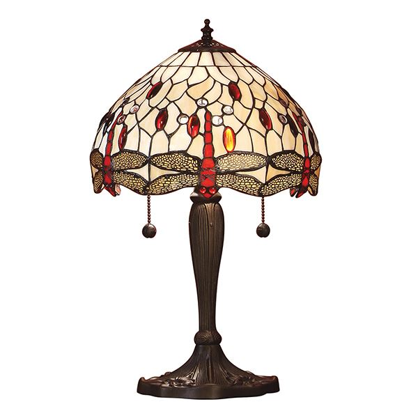 Dragonfly Tiffany Beige Small Bronze Table Lamp 60W