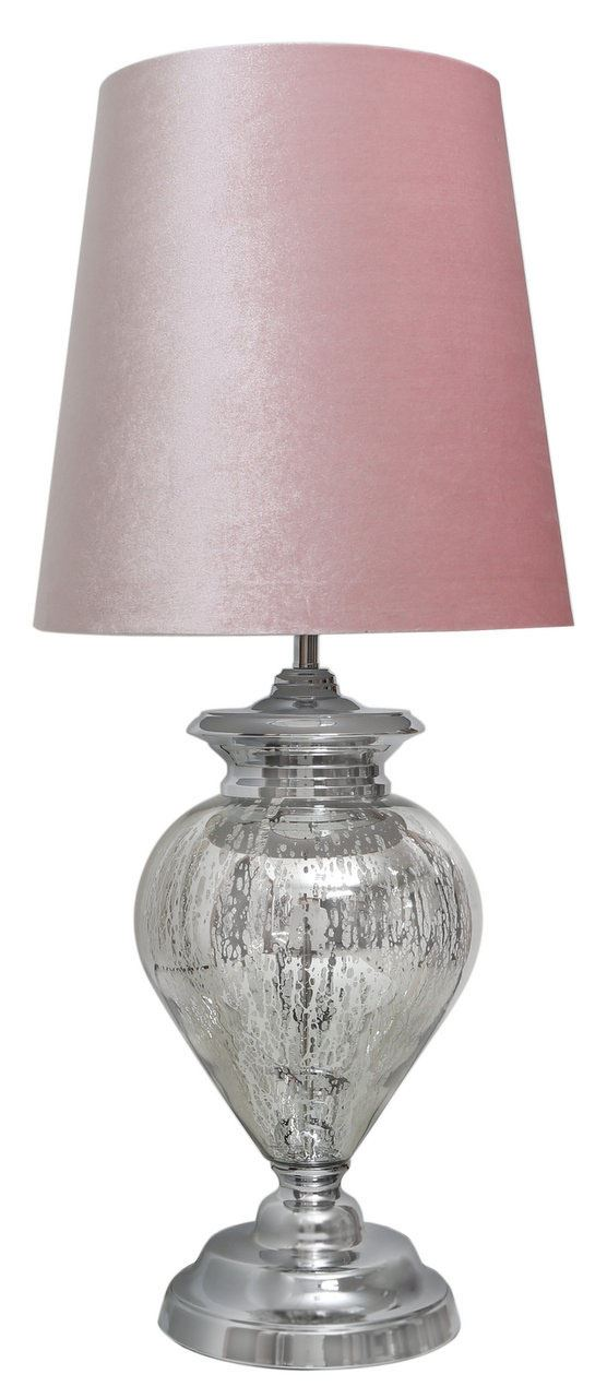Large Silver Chrome Glass Regency Statement Elegant Table Lamps with Pink Shade - Big Living
