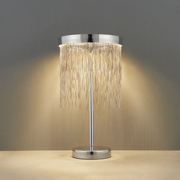 Stunning Zelma Table Lamp 10W SW Warm White - Chrome Steel Plate