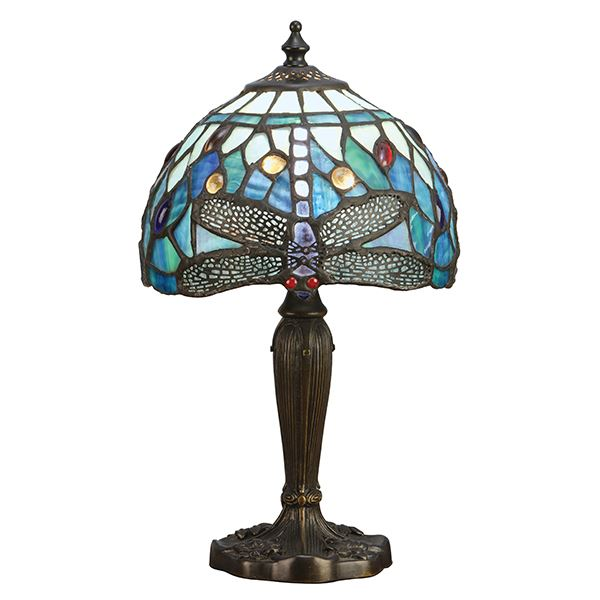 Dragonfly Tiffany Style Intermediate Table Lamp With Blue Glass Shade 40W