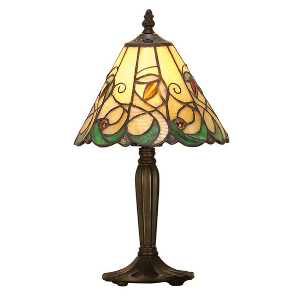 Jamelia Intermediate Tiffany Small Table Lamp With Stained Glass Shade