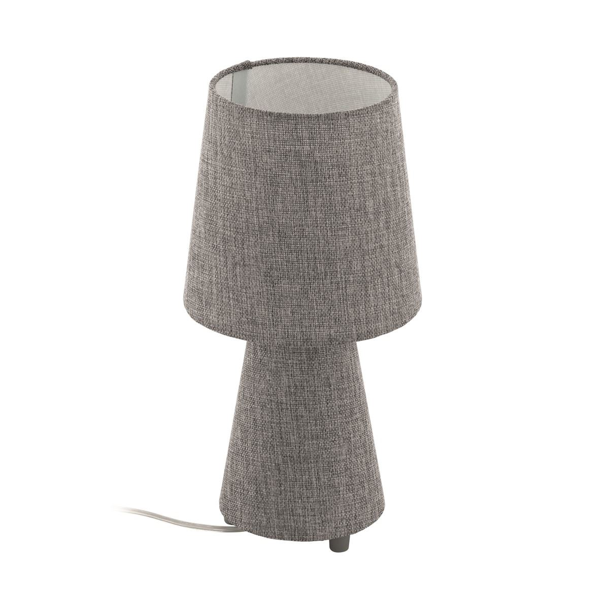 Grey Fabric Table Lamp With Shade For Bedside Table