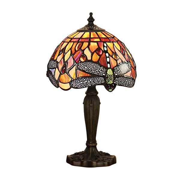 Dragonfly Tiffany Red And Yellow Flame Intermediate Table Lamp 40W