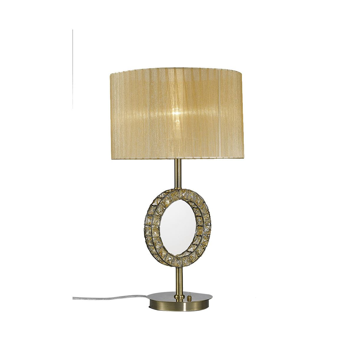 Florence Round Antique Brass Table Lamp With Soft Bronze Shade
