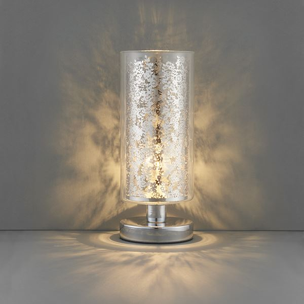 Lacy Touch Table Lamp 28W SW - Clear Glass Shade & Silver Steel Base