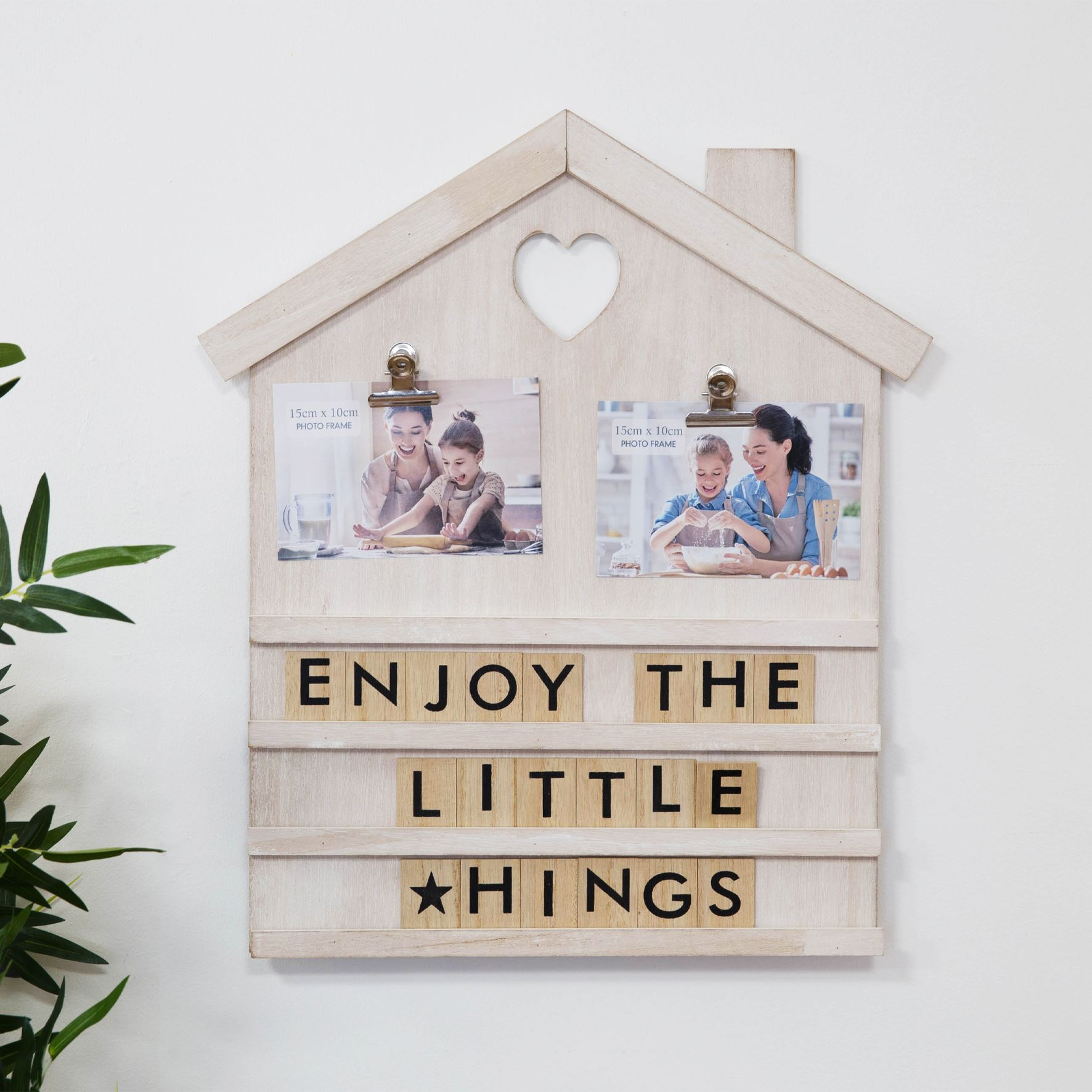 Cream House Shaped Letter Board with Photo Clips