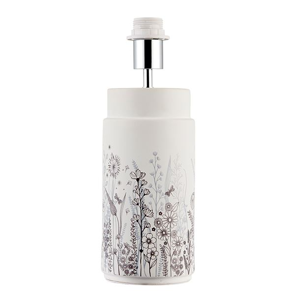 Wild Meadow Floral Table Lamp 60W SW - Base Only Matt White Ceramic