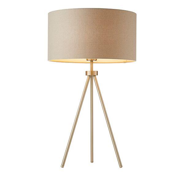 Tripod Matt Nickel Table Lamp With Grey Faux Linen Shade