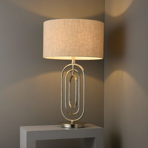 Meera Table Lamp 60W SW - Antique Silver Base & Beige Fabric Shade