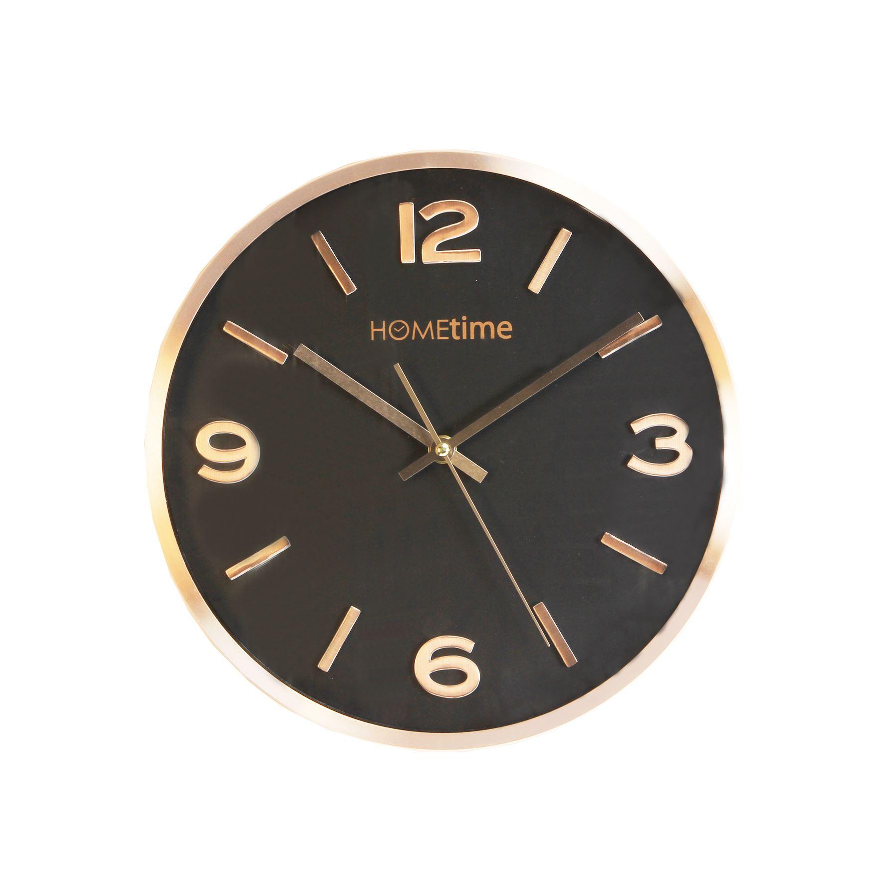 Hometime Aluminium Wall Clock Copper Finish Black Dial 30Cm