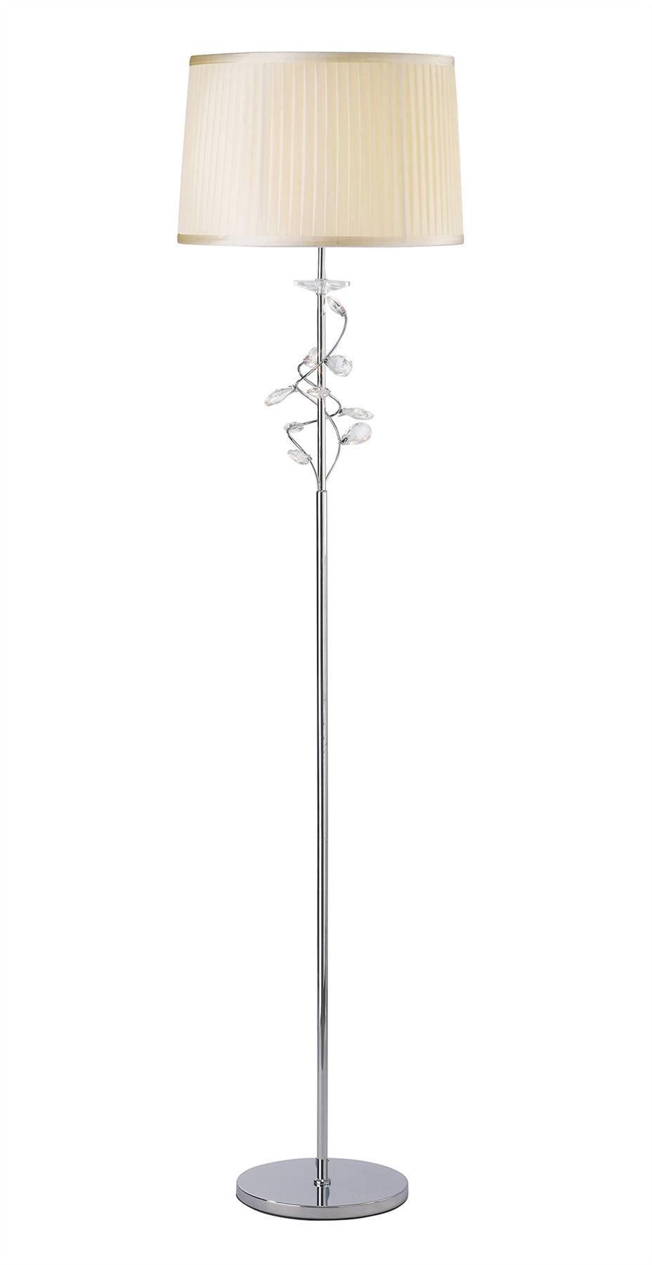 Elegant Willow 1 Light Floor Lamp With Cream Shade - Polished Chrome Finish