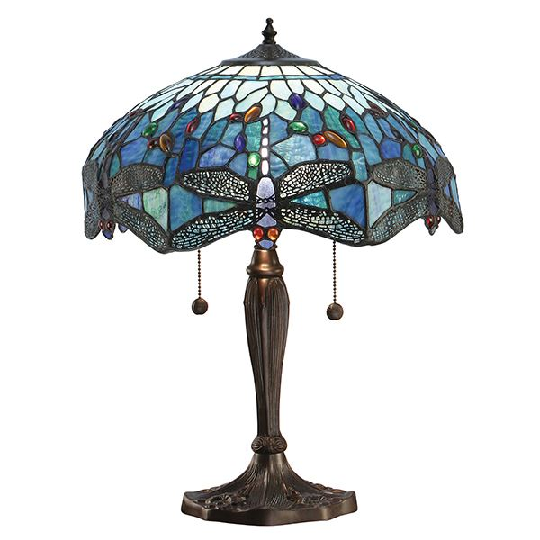 Dragonfly Tiffany Style Blue Medium Table Lamp Pull Chain Switch 60W