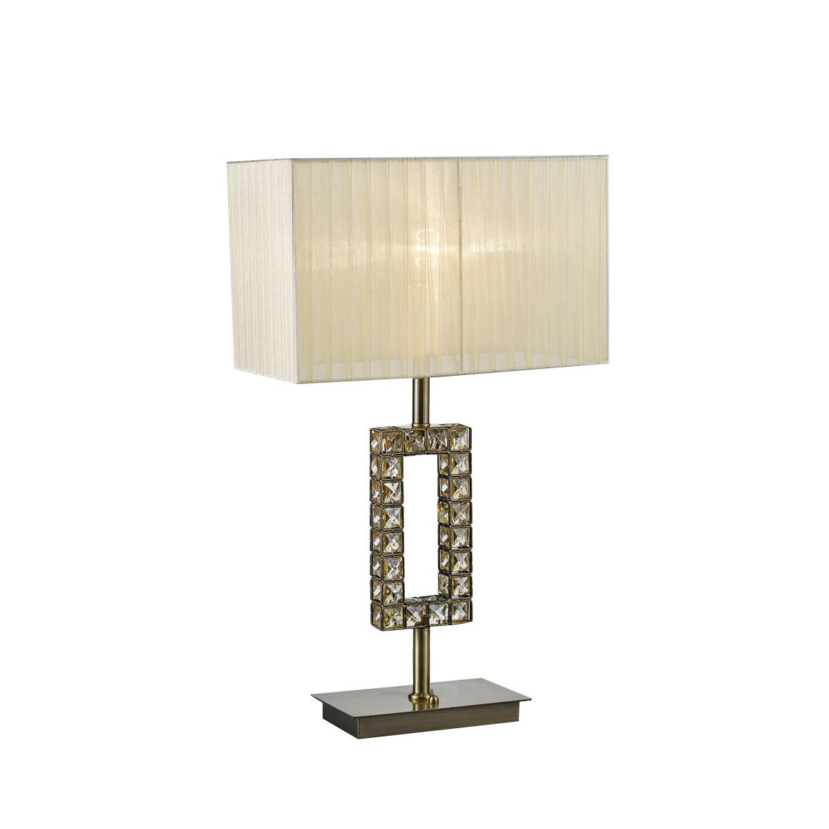 Florence Rectangle Antique Brass Table Lamp With Cream Shade & Crystal