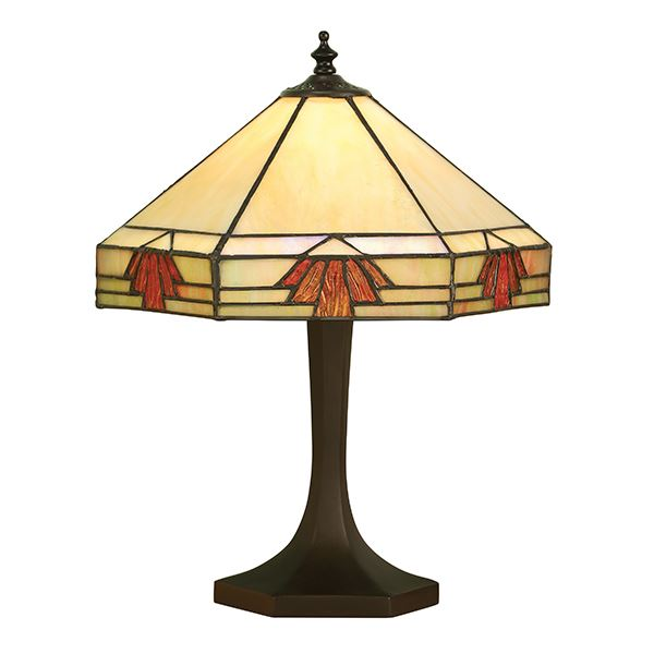 Nevada Small Tiffany Style Table Lamp With Cream Glass Shade 40W