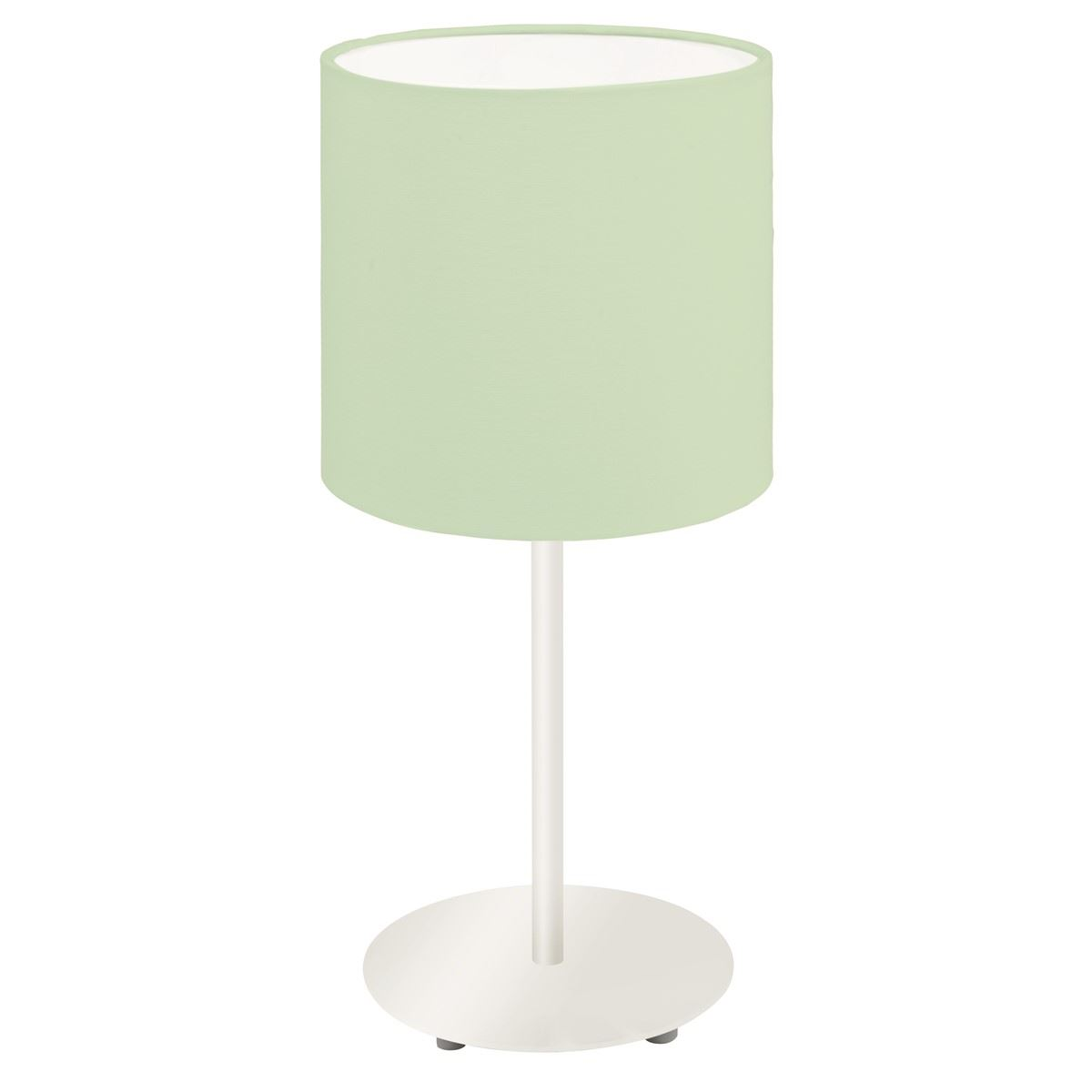 Silver Steel Table Lamp With Green Fabric Shade E27 Holder 60W