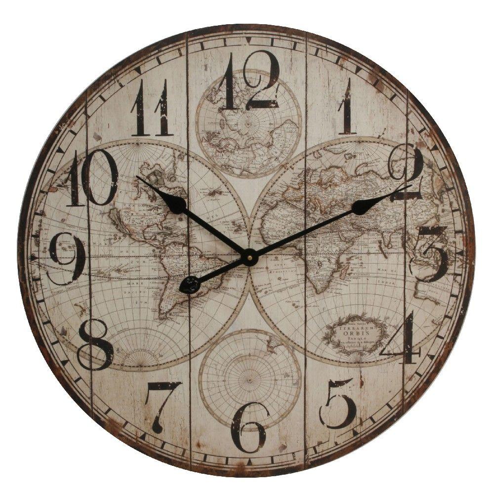 Hometime World Map Design Wall Clock 60cm